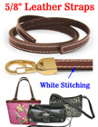 "Stitched-Enhanced Leather Straps: Thick Genuine Flat Leather 5/8""(W)x44""(L)"