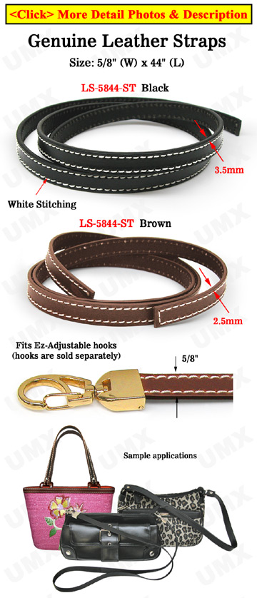 "Stitches-Enhanced Leather Straps: Genuine Flat Leather 5/8""(W)x44""(L)"