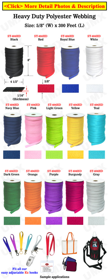 "Heavy Duty Fabric Straps: Plain Color Polyester Straps By The Spool (Roll) / 300 ft - 5/8"" (W)"