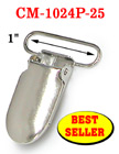 "1"" Best Seller Baby Pacifier Clips / Suspender Clips With Fabric Protecting Plastic Teeth: Nickel Color CM-1024P-25"