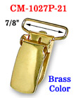"7/8"" Brass Finish Suspender Clips With Fabric Protecting Plastic Teeth"