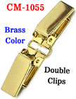 "5/8"" Double Clips: Metal Suspender Clips Without Plastic PVC Teeth: Brass Color"
