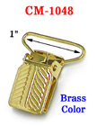 "1"" Engraved Tip Metal Suspender Clips Without Plastic PVC Teeth: Brass Color CM-1048/Per-Piece"