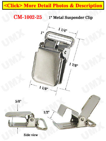 "1"" Heavy Duty Suspender Clips With Heavy Weight Lock Jaw Without Plastic PVC Teeth: Nickel Color"