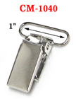 "1"" Rectangular Metal Suspender Clips Without PVC Plastic Teeth: Nickel Color"