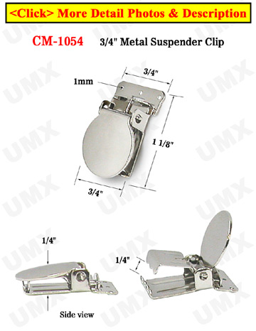 "3/4"" Sew-On Metal Suspender Clips Without Plastic PVC Teeth: Nickel Color"