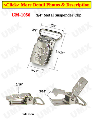 "3/4"" Snowman Metal Suspender Clips Without Plastic PVC Teeth: Nickel Color"