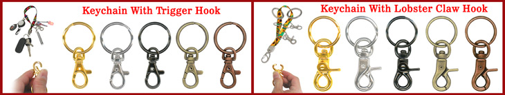 Heavy Duty Steel Metal Key Chains with Swivel Trigger Hooks or Lobster Claw Swivel Hooks