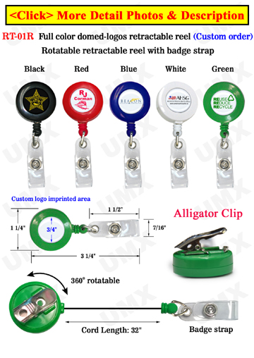 Full Color Logoed Badge Reels With Domed Cover Protection - Wholesale