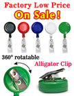 Rotatable Retractable Badge Reels With Alligator Clips & Badge Straps RT-01R/Per-Piece