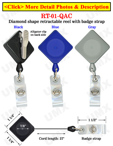 Diamond Shape Retractable Name Badge Reels With Alligator Clips