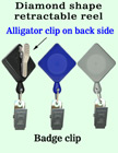 Diamond Shaped Retractable ID Holders With Alligator Clips RT-02-QAC/Per-Piece