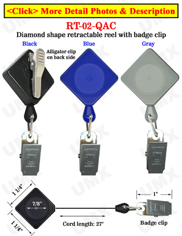 Diamond Shape Retractable ID Holders With Alligator Clips