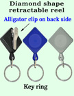 Diamond Shaped Retractable Key Holders With Alligator Clips RT-03-QAC/Per-Piece