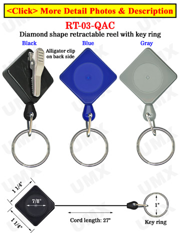 Diamond Shape Retractable Key Holders With Alligator Clips