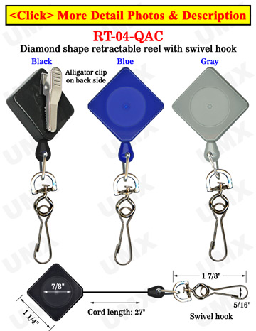 Diamond Shape Retractable Accessory Reels With Alligator Clips