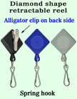 Diamond-Shaped Retractable Security Access Card Reels With Alligator Clips RT-05-QAC/Per-Piece