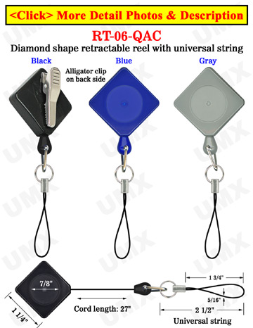 Diamond Shape Retractable Badges With Alligator Clips