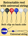 Retractable Reels With Universal Cell Phone Strings RT-06/Per-Piece