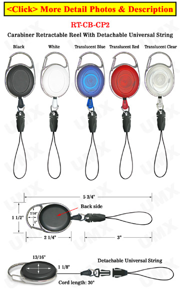 Carabiner Retractable Cell Phone Strings With Universal String Connector