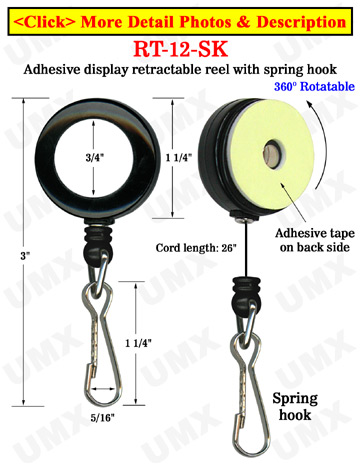 Rotatable Retractable Displays With Adhesive Backs and Spring Hooks