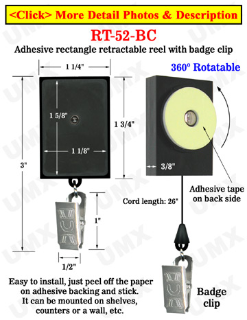 All Direction Access Retractable Display With Adhesive Backs and Metal Clips