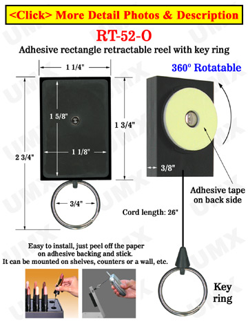 All Direction Access Retractable Display With Adhesive Backs and Metal Key Chains