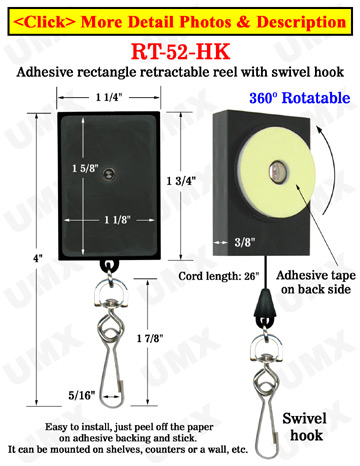 All Direction Access Retractable Swivel Display With Adhesive Backs and Metal Swivel Hooks