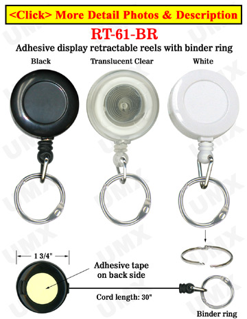 Low Cost Product Display Retractable Product Display Reels With Binder Rings and Adhesive Backing