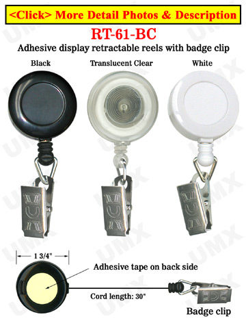 High Quality Low Cost Cheap Price Display Retractable Reels With Metal Clips and Adhesive Backing