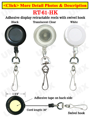 High Quality & Cheap Trade Show Display Retractable Trade Show Reels With Metal Swivel Hooks and Adhesive Backing