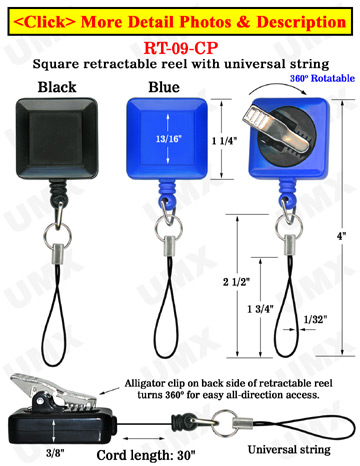 Rotatable Cell Phone Reels With Universal Strings & Alligator Clips