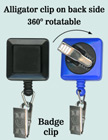 Rotatable ID Badge Reels With Badge Clips & Alligator Clips RT-09-BC/Per-Piece