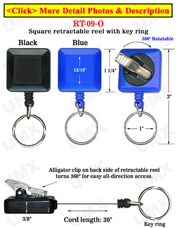 Rotatable Keychain Reels With Keychains & Alligator Clips