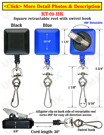 Rotatable Swivel Hook Reels With Swivel Backs & Alligator Clips
