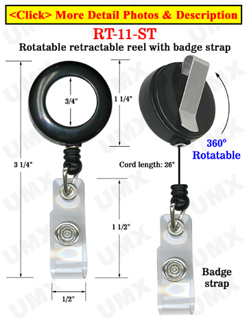 All Direction Pull Retractable Badge Holders With Badge Straps & Belt Clips