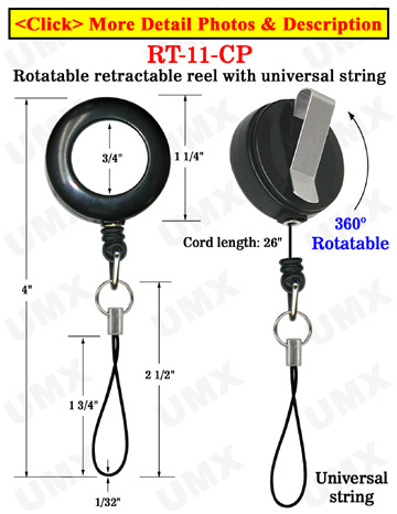 All Direction Pull Retractable Cell Phone String Reels With Universal Strings & Belt Clips