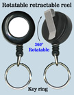 All Direction Pull Retractable Keychain Reels With Metal Key Chains & Belt Clips RT-11-O/Per-Piece