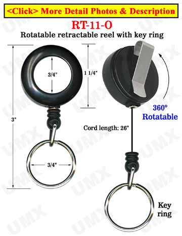 All Direction Pull Retractable Keychain Reels With Metal Key Chains & Belt Clips