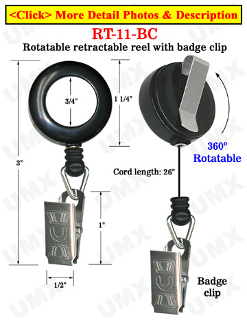 All Direction Pull Retractable Name Badge Clips With Metal Badge Clips & Belt Clips
