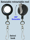 All Direction Pull Retractable Swivel Hooks Reels With Metal Swivel Hooks & Belt Clips RT-11-HK/Per-Piece