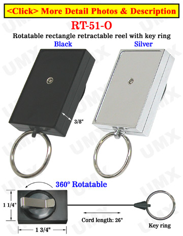 Rectangle Rotatable Retractable Key Chains With Metal Key Chain Holders & Belt Clips