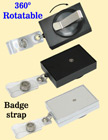 Rectangle Rotatable Retractable Name Badge Holders With Name Badge Straps & Belt Clips RT-51-ST/Per-Piece