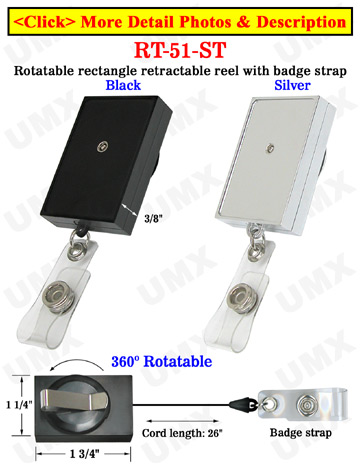 Rectangle Rotatable Retractable Name Badge Holders With Name Badge Straps & Belt Clips