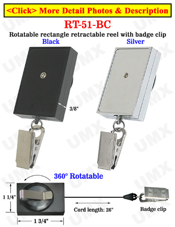 Rectangle Rotatable Retractable Nametag Holders With Nametag Clips & Belt Clips