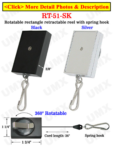 Rectangle Rotatable Retractable Wholesale Badge Reels With Factory Direct Wholesale Price