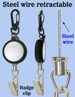 Steel Metal Wire Retractable Reels With Badge Clips RT-03S-BC/Per-Piece