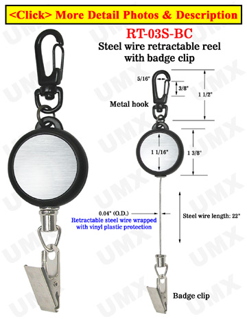 Steel Metal Wire Retractable Reels With Badge Clips