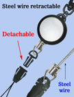 Detachable Steel Cable Wire Retractable Reels With Quick Release Fastener Strings