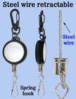 Braided Cable Wire Retractable Reels With Metal Spring Hooks RT-03S-SK/Per-Piece